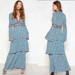 NWT Nasty Gal  Floral Bell Sleeve Maxi